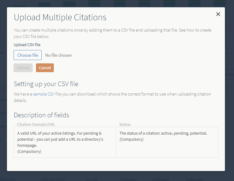 Can I bulk upload Citations to the report? – BrightLocal
